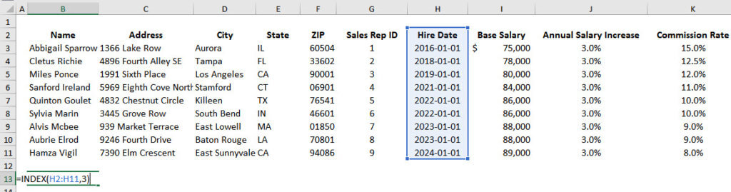 INDEX with Optional Column Number