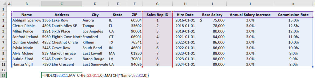 Index Match Function Excel: Combined