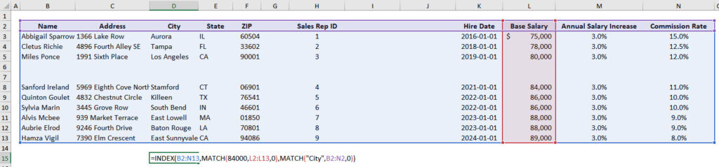 INDEX and MATCH Flexibility Over Ranges