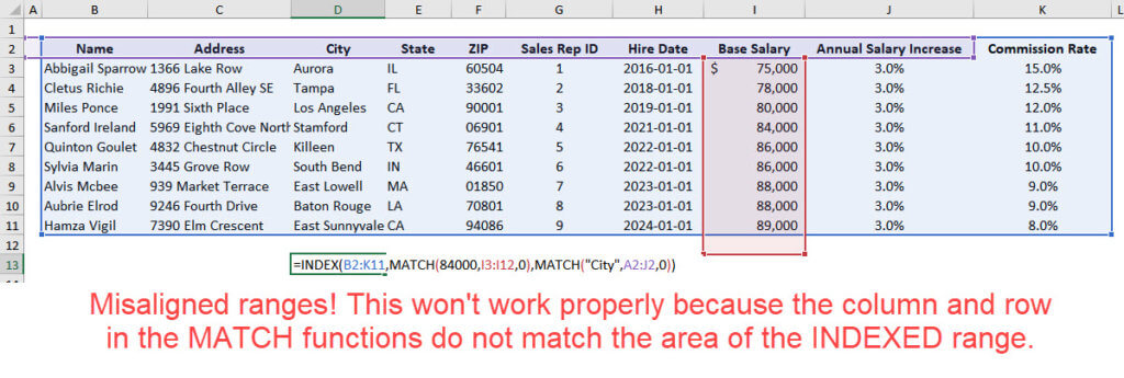 Misaligned Range in INDEX and MATCH